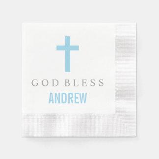Personalized Baptism Napkin | Blue Cross