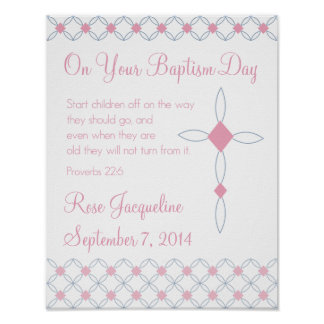 Personalized Baptism Print for Girl - 11x14