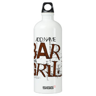 Personalized Bar and Grill BBQ Dad Food Eat Aluminum Water Bottle