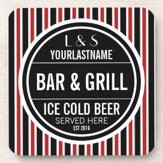 Personalized Bar and Grill Black White Red Beverage Coaster