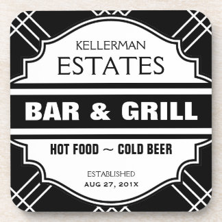 Personalized Bar Sign for Man Cave Drink Coaster