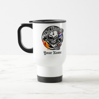 Personalized Barber Skull with Flaming Razor Mug