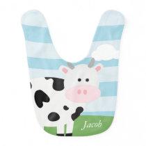Personalized Barnyard Cow Baby Bib