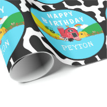 Personalized Barnyard Farm Animal Birthday Party Wrapping Paper