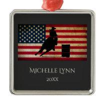 Personalized Barrel Racer American Flag Horse Metal Ornament