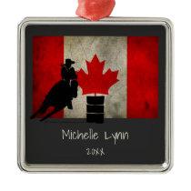 Personalized Barrel Racer Canadian Flag Horse Metal Ornament