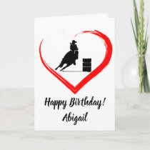 Personalized Barrel Racing Horse, Heart Birthday Card