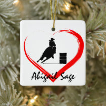 Personalized Barrel Racing Horse n Heart Christmas Ceramic Ornament
