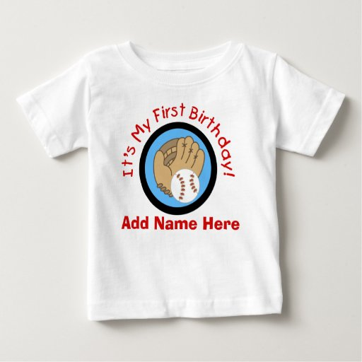 Personalized Baseball 1st Birthday  Tshirt