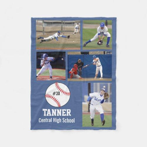 Personalized Baseball 5 Photo Collage Name Team  Fleece Blanket