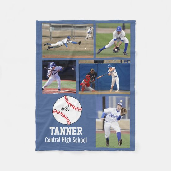 Personalized Baseball 5 Photo Collage Name Team # Fleece Blanket
