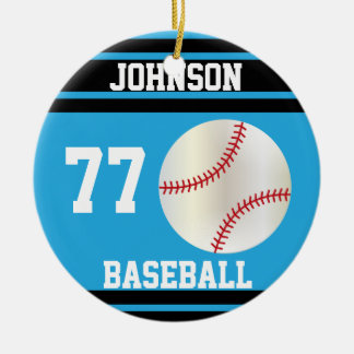 Personalized Baseball | Baby Blue and Black Ceramic Ornament