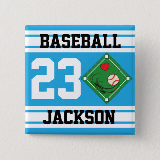Personalized Baseball Baby Blue Design Button