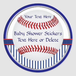 Personalized Baseball Baby Shower Stickers