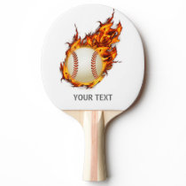 Personalized Baseball Ball on Fire bat Ping-Pong Paddle