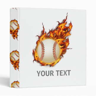 Personalized Baseball Ball on Fire Binder