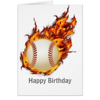 Personalized Baseball Ball on Fire Card