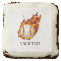 Personalized Baseball Ball on Fire Chocolate Brownie
