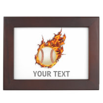 Personalized Baseball Ball on Fire jewelery box