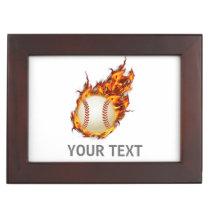Personalized Baseball Ball on Fire jewelery box
