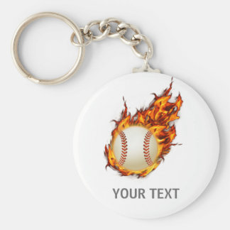 Personalized Baseball Ball on Fire keychain