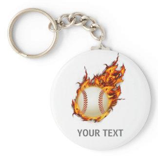 Personalized Baseball Ball on Fire keychain