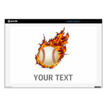Personalized Baseball Ball on Fire laptop skin