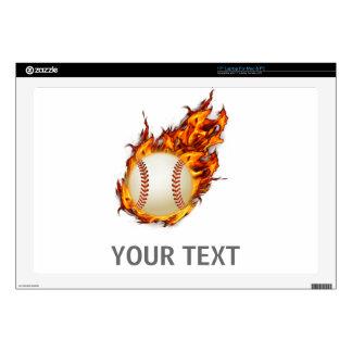 Personalized Baseball Ball on Fire laptop skin
