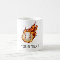 Personalized Baseball Ball on Fire mug