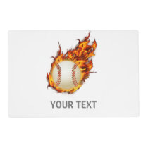 Personalized Baseball Ball on Fire Placemat