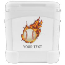 Personalized Baseball Ball on Fire Rolling Cooler