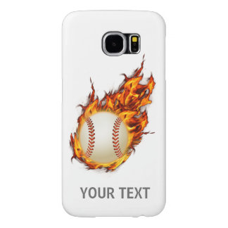 Personalized Baseball Ball on Fire Samsung Galaxy S6 Case