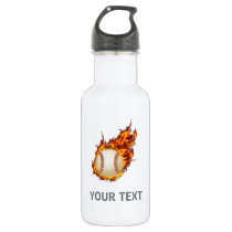 Personalized Baseball Ball on Fire Stainless Steel Water Bottle