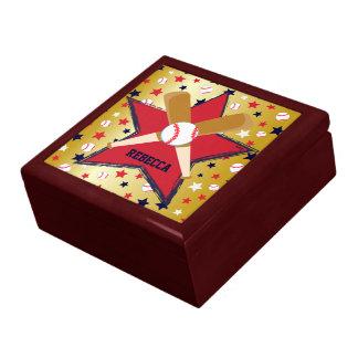 Personalized Baseball bats ball and stars Gold Keepsake Box