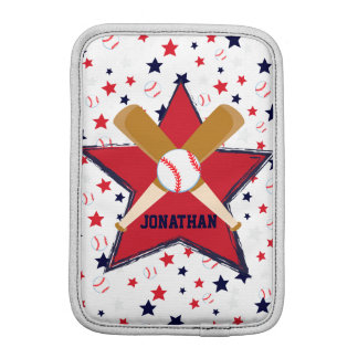 Personalized Baseball Bats Ball and Stars iPad Mini Sleeve