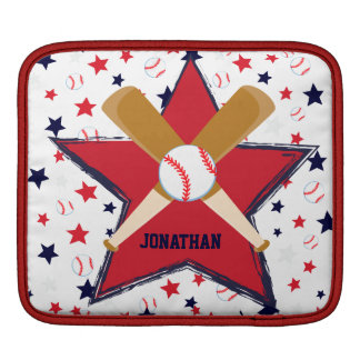 Personalized Baseball Bats Ball and Stars Sleeve For iPads