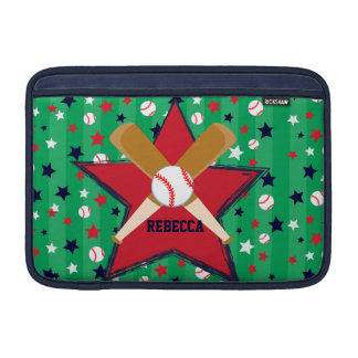 Personalized Baseball bats ball and stars MacBook Sleeves