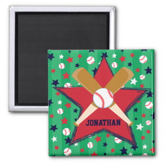 Personalized Baseball bats ball and stars 2 Inch Square Magnet