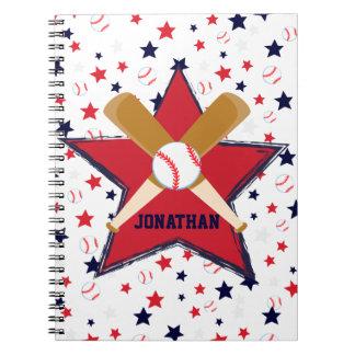 Personalized Baseball bats ball and stars Notebook