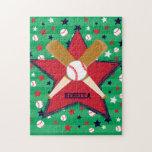 Personalized Baseball bats ball and stars Puzzle