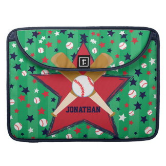 Personalized Baseball bats ball and stars Sleeves For MacBooks