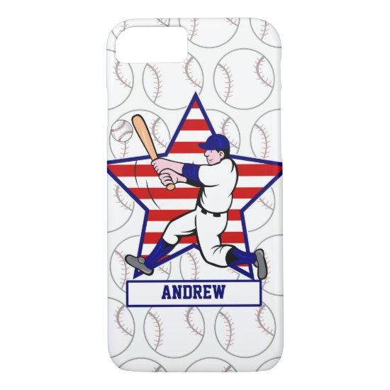 Personalized Baseball batter 2 Star and stripes iPhone 8/7 Case