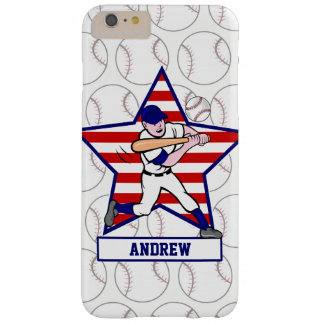 Personalized Baseball batter Star and stripes Barely There iPhone 6 Plus Case