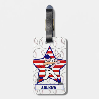 Personalized Baseball batter Star and stripes Luggage Tag