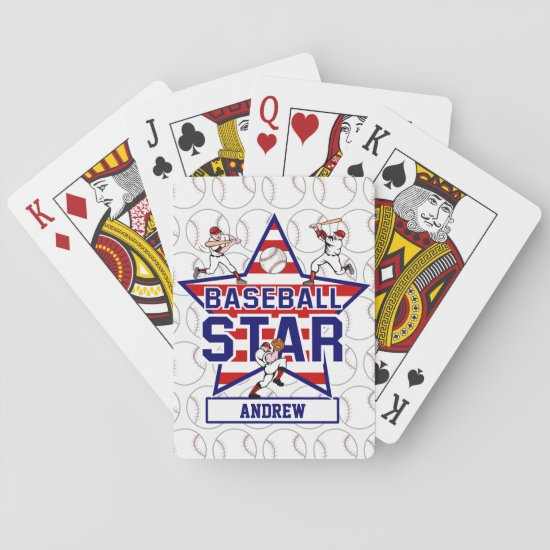 Personalized Baseball batter Star and stripes Playing Cards