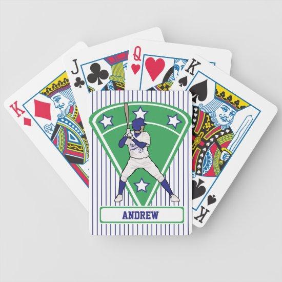 Personalized Baseball Batter Star Blue Bicycle Playing Cards