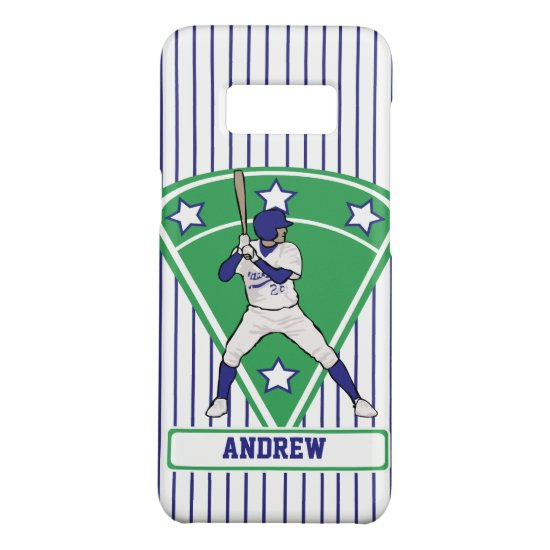 Personalized Baseball Batter Star Blue Case-Mate Samsung Galaxy S8 Case