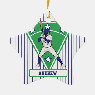 Personalized Baseball Batter Star Blue Ceramic Ornament