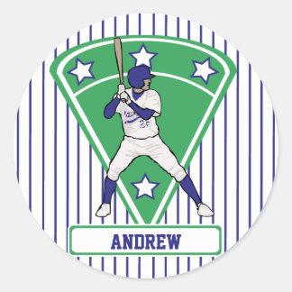 Personalized Baseball Batter Star Blue Classic Round Sticker