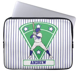 Personalized Baseball Batter Star Blue Computer Sleeve